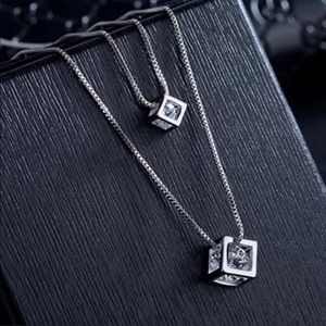 Sterling Silver 925 Double CZ Necklace